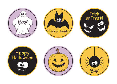 Set of round Halloween tags and labels featuring ghost, bat, spider, pumpkin and spooky faces Illustration