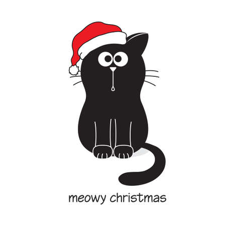 Cute and funny black cat in Santa?s hat. Meowy Merry Christmas card