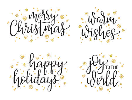 Christmas greetings hand written lettering set. Modern calligraphy style for cards, gift tags, photo overlays