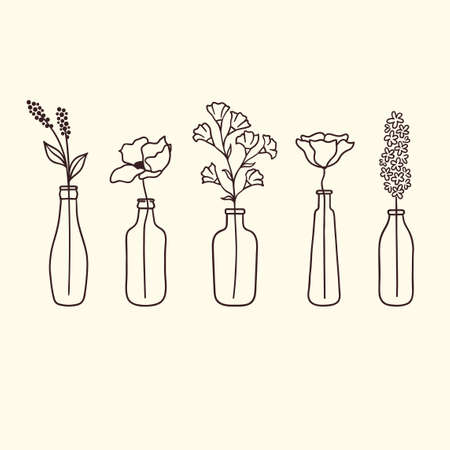 Set of cute hand drawn flowers in bottles