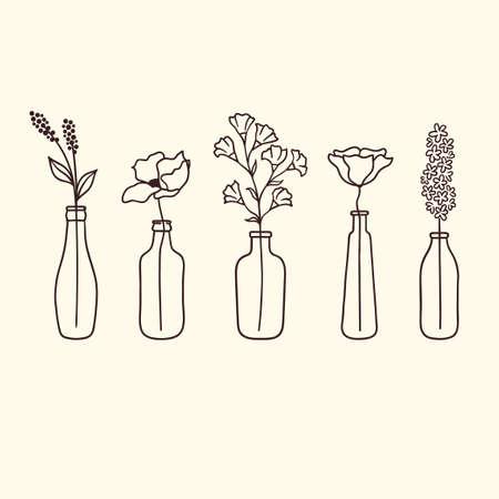 Zestaw ładny ręcznie rysowane kwiaty w butelkach Ilustracje wektorowe
