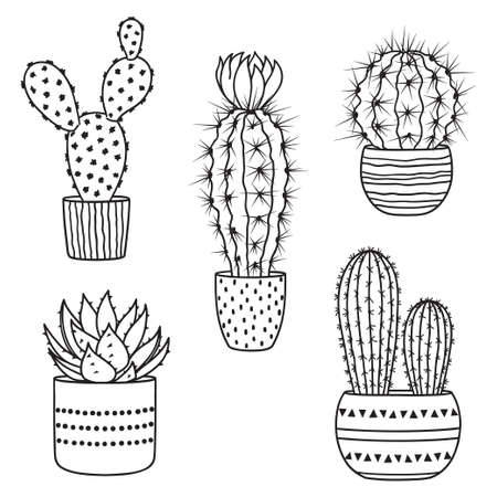 Set of hand drawn cactus in pots in silhouette black with white backdrop illustration.