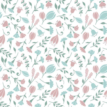 Delicate seamless floral pattern background with cute flowers and grasses in pastel colors Illustration