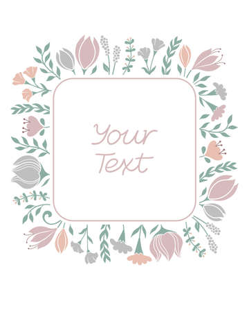 Floral frame background in pastel colors. Greeting card, wedding invitation template with variety of flowers and grasses Standard-Bild - 100696909