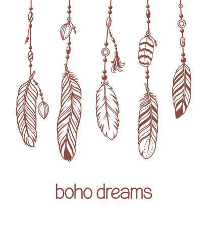 Set of pendants and hangers with bird feathers and beads. Boho, hippie, ethnic style, fashion design elements Çizim
