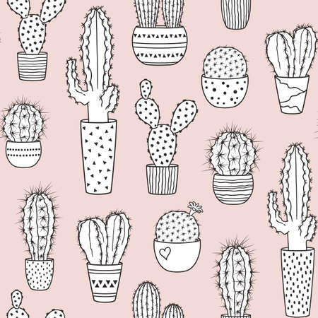 Seamless pattern with variety of cacti in pots