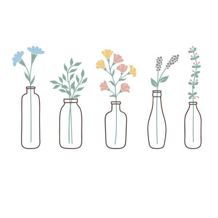 Set of bottles with cute pastel wild flowers and grasses Illustration