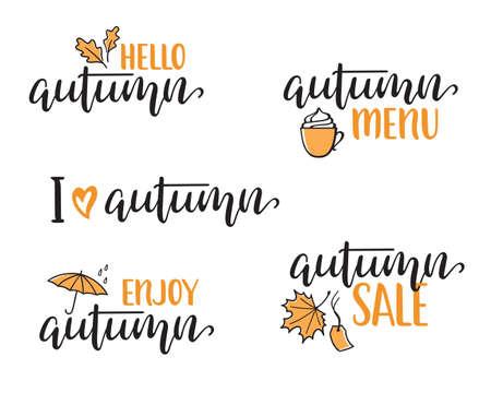 Set of hand written lettering set for Autumn design. Hello, Enjoy, I love Autumn, Menu and Sale calligraphy Ilustração