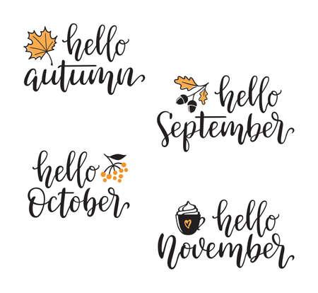 Herbstkalligraphie-Set mit Designelementen. Hallo Herbst, September, Oktober, November handgeschrieben Vektorgrafik