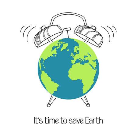 Erdsymbol mit handgezeichnetem Wecker. Konzept für Tag der Erde, Stunde, Umwelt und Ökologie und jedes weltweite Problem