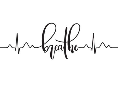 Cardiogram line forming word Breathe. Modern calligraphy, hand written Illustration