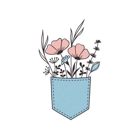 Hand drawn flowers and grasses bunch in jeans pocket Standard-Bild - 122524828