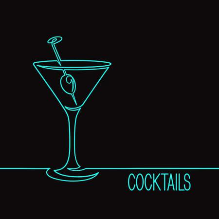 Cocktailglas met olijf. Eén doorlopende lijntekening