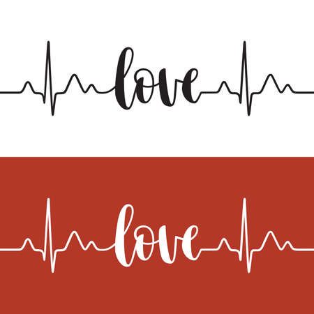 Cardiogram line forming word Love. Modern calligraphy, hand written