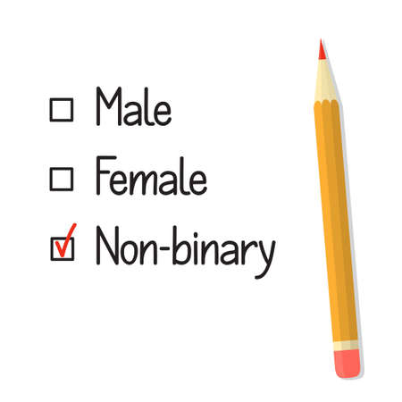 Check boxes with three gender options, red tick and pencil. Non binary gender identity concept  Ilustrace