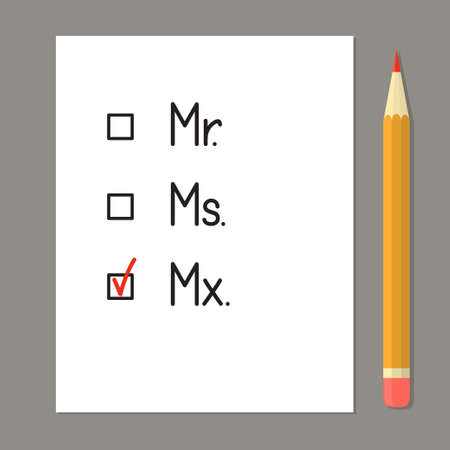 Check boxes with three title options. Red tick against the gender neutral honorific Mx Illustration