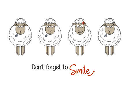 Cute smiling sheep among ordinary ones. Smile and be happy, be yourself, standing out from crowd concepts Illusztráció