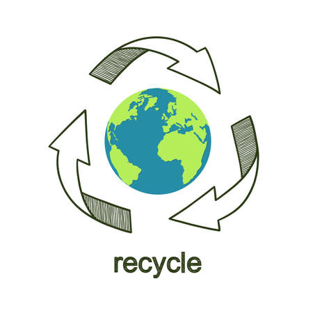 Earth globe with hand drawn recycle symbol. Waste reducing and recycling worldwide concept