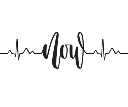 Cardiogram line forming word Now. Modern calligraphy, hand written
