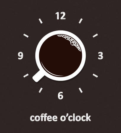Cup of coffee with hand drawn clock face over blackboard background. Coffee o clock, break time, good morning concept
