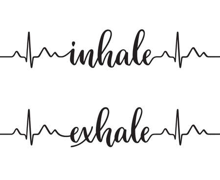 Cardiogram line forming words Inhale and Exhale. Modern calligraphy, hand written