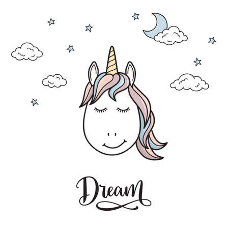 Cute unicorn head with closed eyes, surrounded by moon, stars and clouds, and Dream hand written typography
