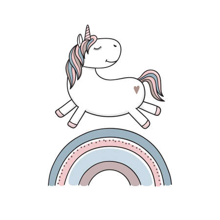 Funny and cute unicorn jumping over a rainbow 向量圖像
