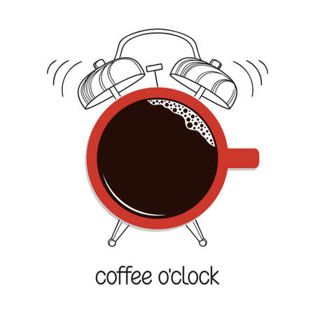 Hand drawn alarm clock with cup of coffee as clock face. Coffee o clock, break time, good morning concept Vetores