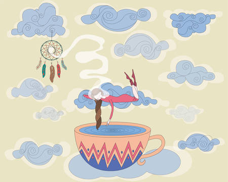 Sleeping girl. Dream Dream Catcher. The clouds. Airy world. Magic