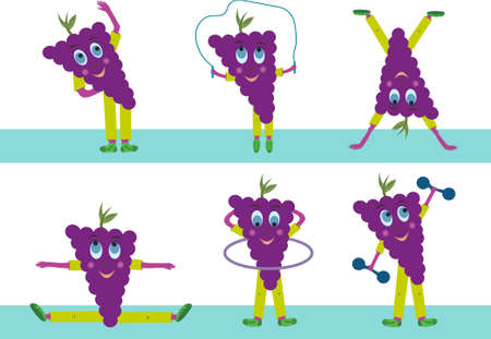 Grapes vector goes in for sports. Purple grape fruit character isolated on white background. Different kinds of sports.