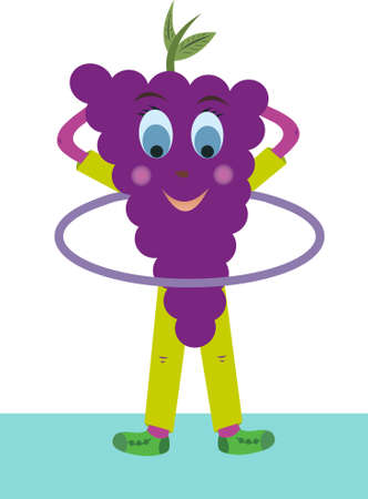 Perky grape vector twists hoop. Grapes are very fond of sports. Fruit grapes depicted on a white background.