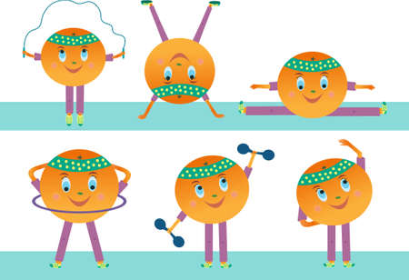 Juicy orange vector goes in for sports. Isolated orange fruit character on a white background. Illustration