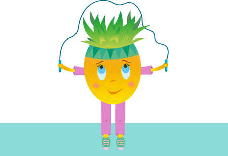 Pineapple vector jumping rope. Cheerful fruit character on a white background