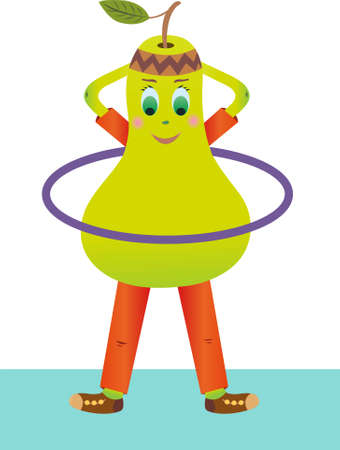 Pear vector twists hoop. Pear goes in for sports. Fruit is an athlete.