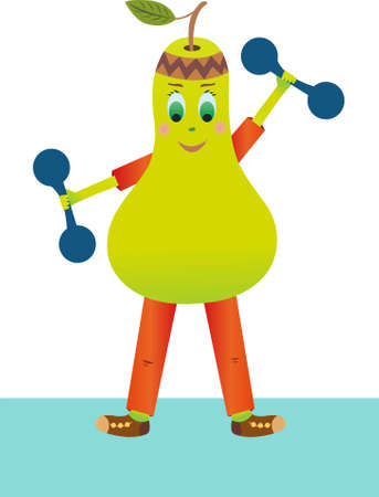 Funny pear vector lifts dumbbells. Pear goes in for sports.