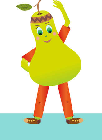 Vector merry pear makes the slopes. Pear does sports exercises Illustration