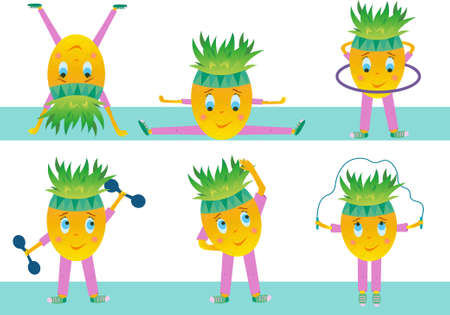 Vector cheerful pineapple goes in for sports. Fruit pineapple character on a white background.