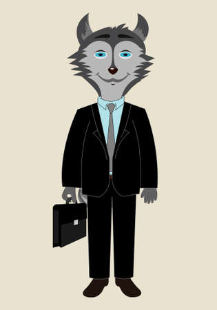 Husky dog ??profession manager vector dressed in a black suit with a suitcase