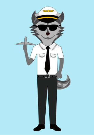 Husky dog ??character isolated pilot profession vector in sunglasses