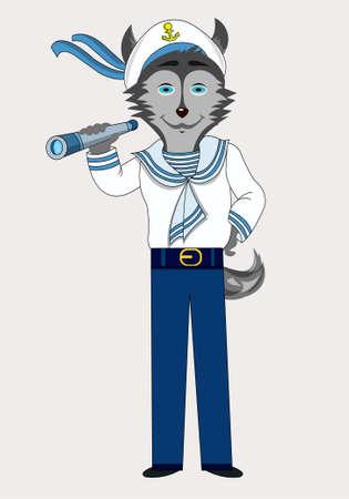 Isolated character dog husky sailor profession holds spyglass vector Ilustração