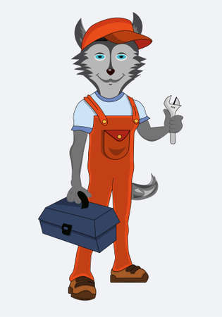 Isolated character dog husky dog ??plumber profession with a wrench and a suitcase with tools dressed in orange uniform vector