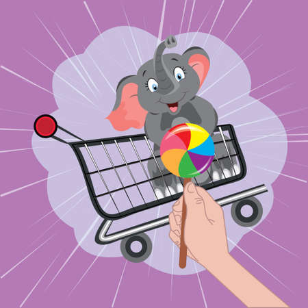 Happy baby elephant in a food cart looks at a lollipop on a purple background cartoon vector