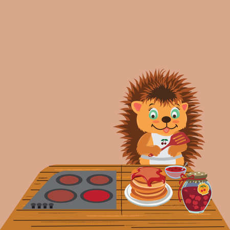 Character hedgehog in an apron prepares pancakes on the table a gas stove a plate with pancakes a bank of jam a plate with jam and a spoon vector cartoon Ilustrace