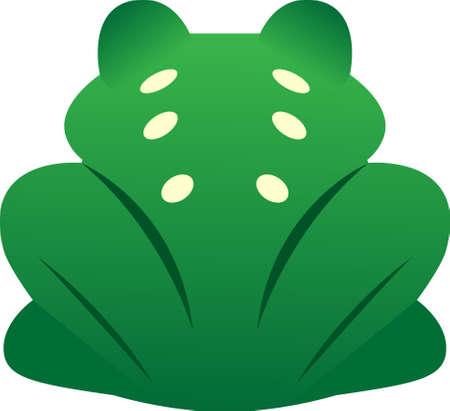 Green frog rear view cartoon vector
