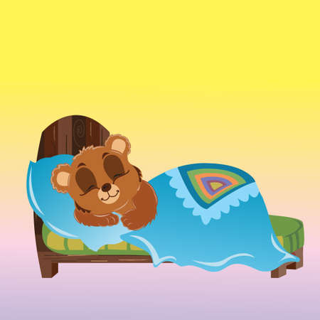 Character of a little teddy bear sleeping on a pillow in bed covered with a blanket vector cartoon Vettoriali