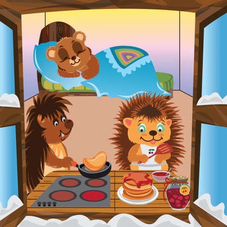 Hedgehogs prepare pancakes with jam in the kitchen in the room on the bed sleeping little bear cub on the windows snow winter vector cartoon