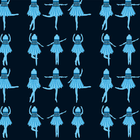 Seamless pattern blue ballerinas in a shuttlecock dress dancing in different poses on a dark blue background cartoon vector