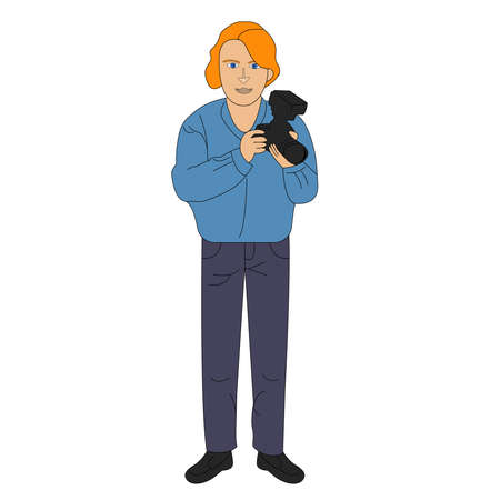 A young male photographer with red hair in a blue jacket holds a camera in his hands. Flat design  illustration Stock fotó - 155001357