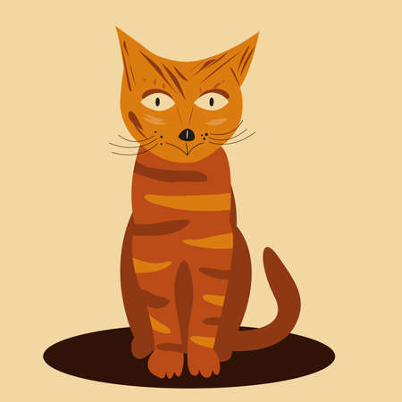 Striped ginger cat in cartoon style sitting on the mat cute pet