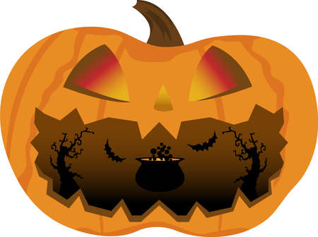 Halloween pumpkin with glowing eyes and a scary open mouth, in which a cauldron with a potion, sinister trees and bats silhouettes vector illustration